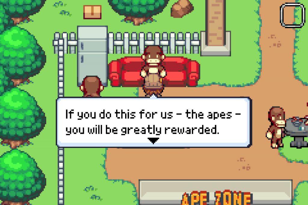 Zoo Saga screenshot of Perry talking to an ape