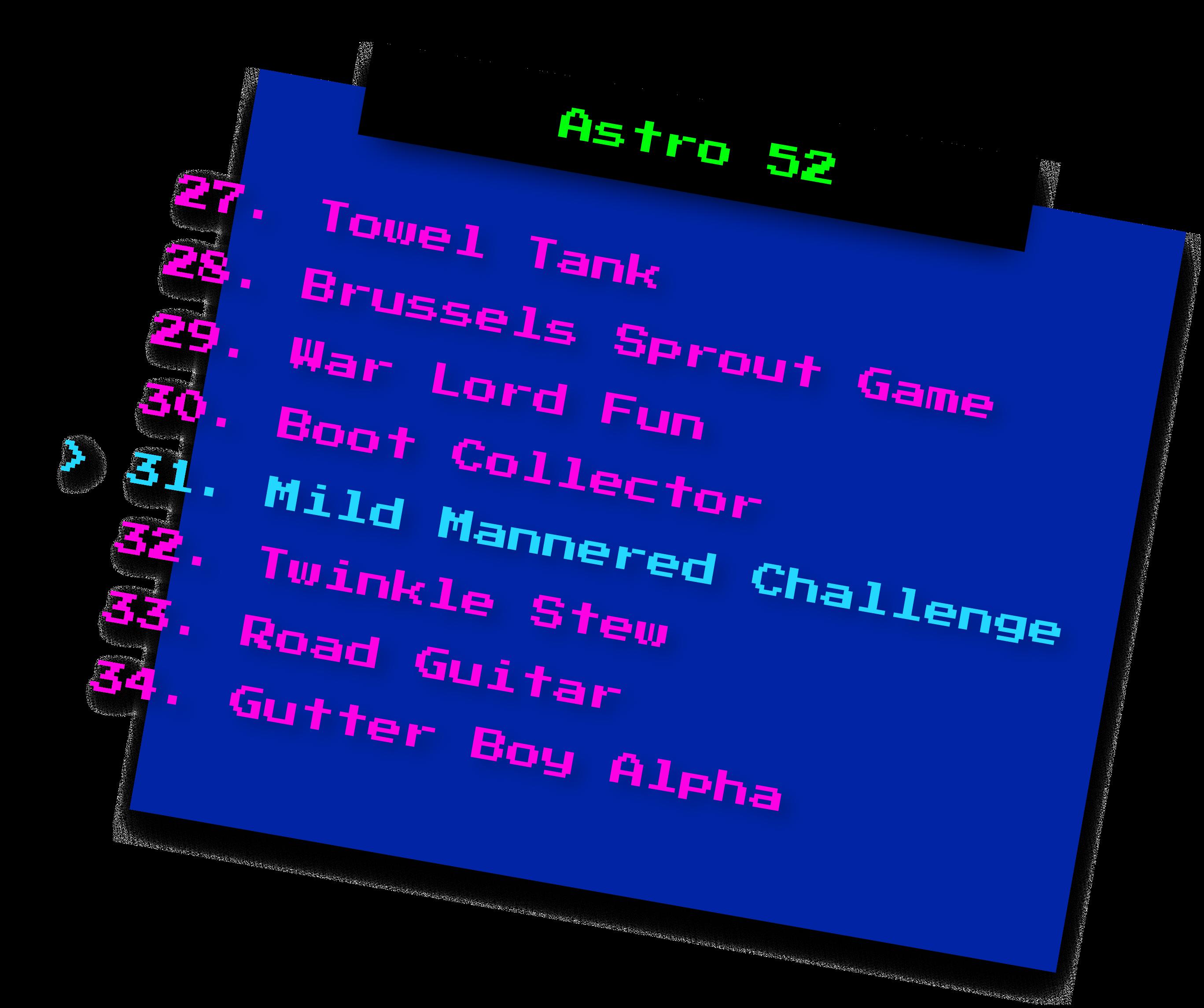 Astro 52 Jam Clipart - Menu